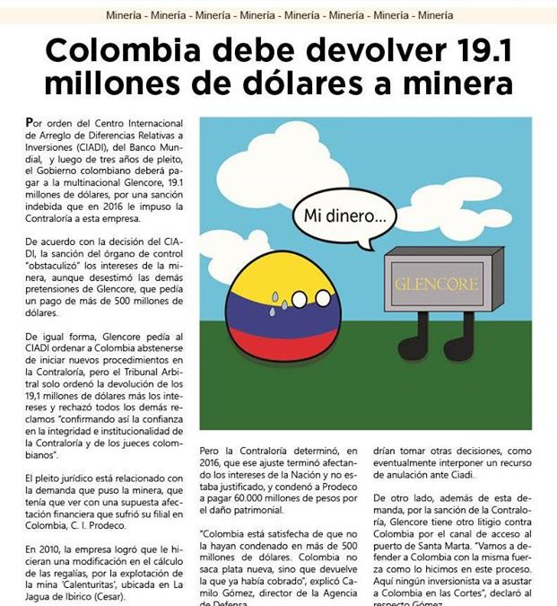 Glencore gegen Kolumbien – ein süss-saures Urteil